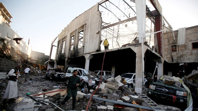 The remains of a community hall in  the Yemen capital Sanaa after an airstrike