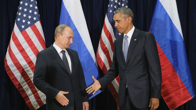 Vladimir Putin and Barack Obama at the United Nations in NEw York