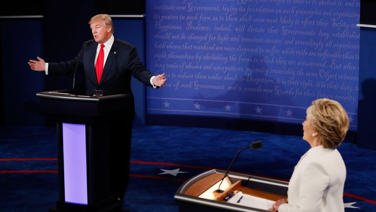 Donald Trump and Hillary Clinton in the final Presidential election debate