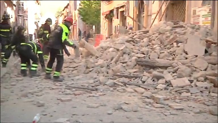 Rubble from Italian earthquake