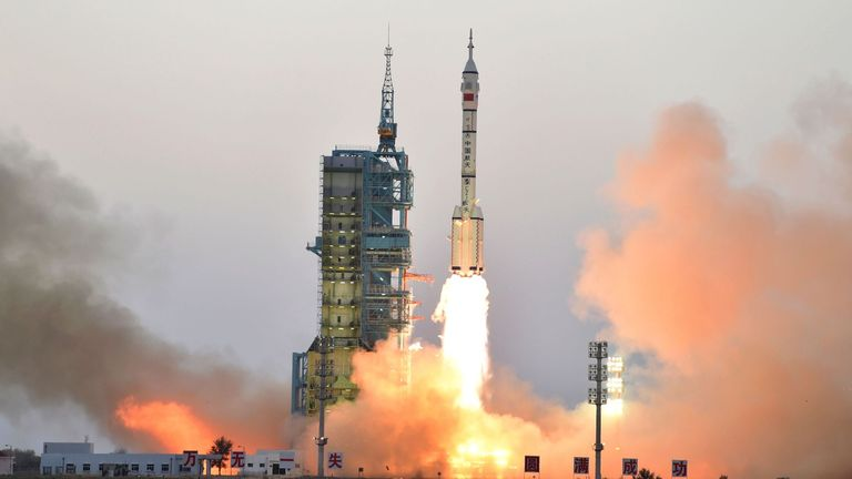 China's Long March-2F carrier rocket transporting the manned spacecraft Shenzhou-11 blasts off from the Jiuquan Satellite Launch Centre