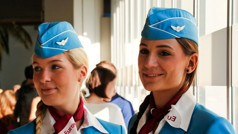 Cabin crew on German budget airline Eurowings