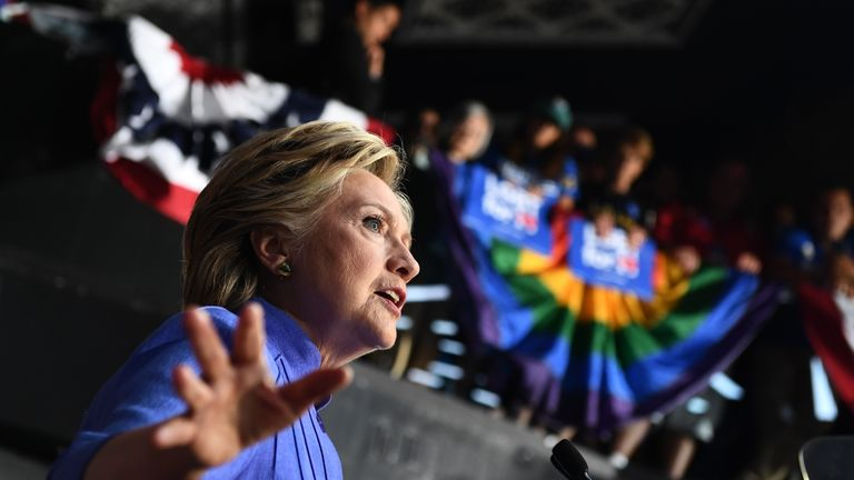 Hillary Clinton speaks at a 'Community in Unity' rally in Wilton Manors, Florida, on Sunday