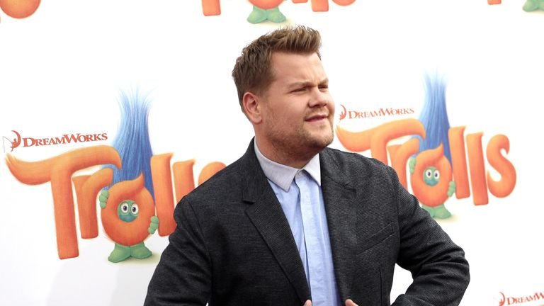 James Corden, who voices the character Biggie,  was at the premiere of Trolls in Westwood, California