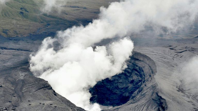 DATE IMPORTED:08 October, 2016An aerial view shows the eruption of Mount Aso in Aso, Kumamoto prefecture, southwestern Japan, in this photo taken by Kyodo October 8, 2016. Mandatory credit Kyodo/via REUTERS ATTENTION EDITORS - THIS IMAGE WAS PROVIDED BY A THIRD PARTY. EDITORIAL USE ONLY. MANDATORY CREDIT. JAPAN OUT. THIS IMAGE WAS PROCESSED BY REUTERS TO ENHANCE QUALITY, AN UNPROCESSED VERSION HAS BEEN PROVIDED SEPARATELY. TPX IMAGES OF THE DAY