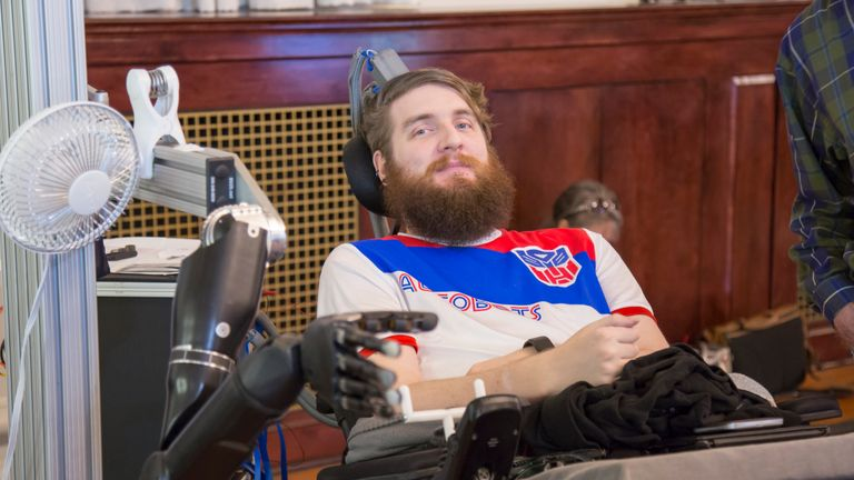 Paralysed Nathan Copeland experiences feeling in his fingers for first time in more than 10 years thanks to robotic arm