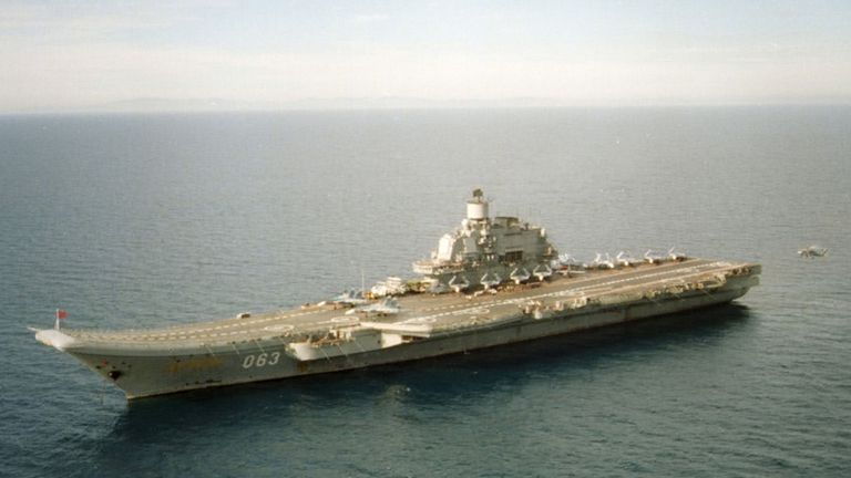 The aircraft carrier Admiral Kuznetsov is part of the Russia convoy