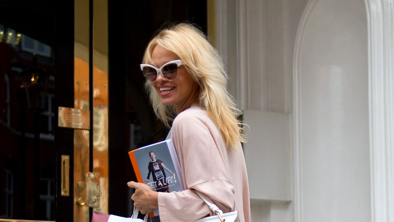Pamela Anderson photographed in London on Friday