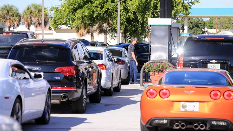 Despite the sunshine, long lines have been forming in Florida to buy fuel