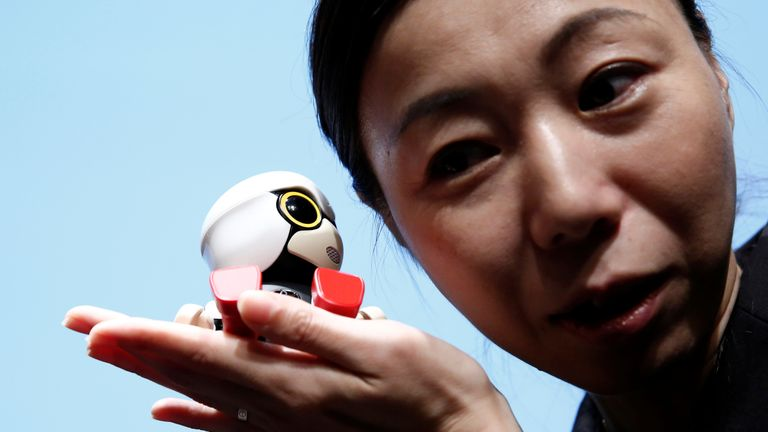 The four-inch tall robot speaks with a high-pitched baby voice