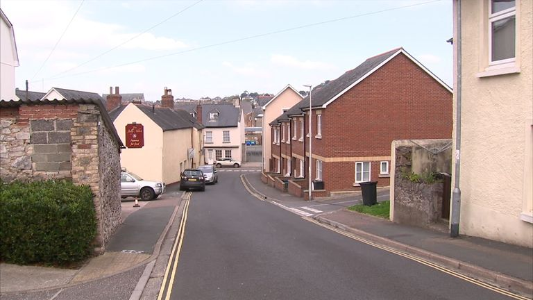 Tudor Road in Newton Abbot, which was the centre of police activity on Saturday