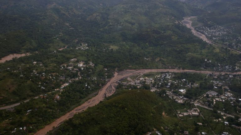An aerial view of a collapsed bridge in Petit Goave, Haiti
