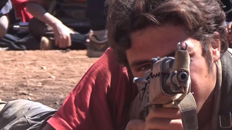 Jabhat Fateh al-Sham (JFS) group has fighters training civilians inside Aleppo