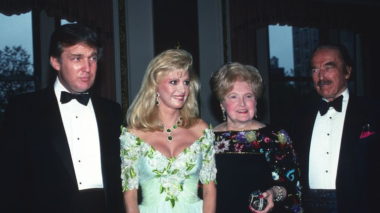 Donald Trump with his first wife Ivana Trump, mother Mary Anne Trump and father Fred Trump