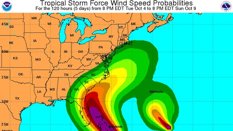 The National Hurricane Center predicts hurricane force winds will batter the coast of the US and the Bahamas