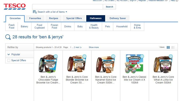 Ben & Jerry's icecream products are not available on the Tesco website