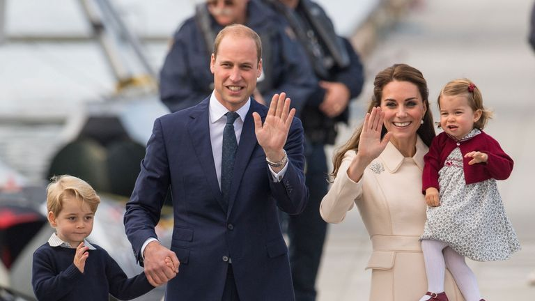 The Duke and Duchess of Cambridge, Prince George and Princess Charlotte wave to the crowds before leaving Canada