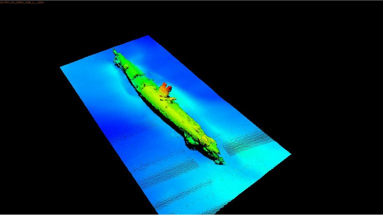 A sonar image of the German U-boat found off the Scottish coast