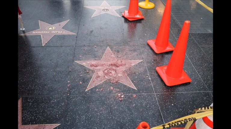 Donald Trump's star on the Hollywood Walk of Fame has been vandalised - 26 October 2016