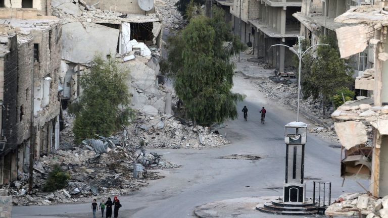 A rebel-held neighbourhood of Aleppo, Syria,
