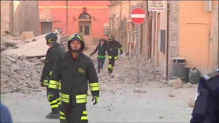 Rescue services in Perugia after a 6.6 earthquake hit