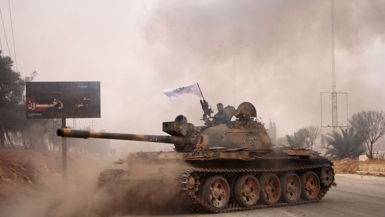The Syrian rebels are firing on government forces from outside Aleppo