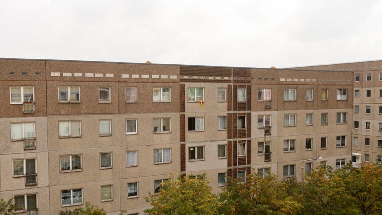 The apartment building where hours earlier police arrested Syrian terror suspect Jaber Albakr