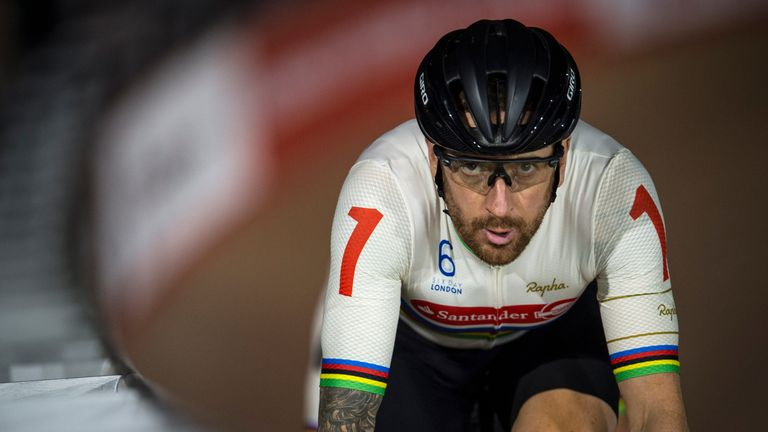 Sir Bradley Wiggins competes in the Madison Chase Six Day London Cycling at the Velodrome