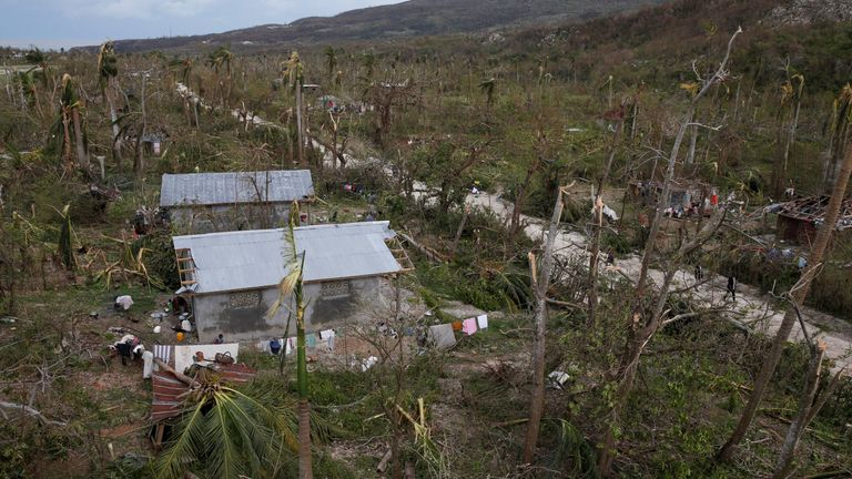 Destroyed houses and fallen trees in Jeremie, Haiti