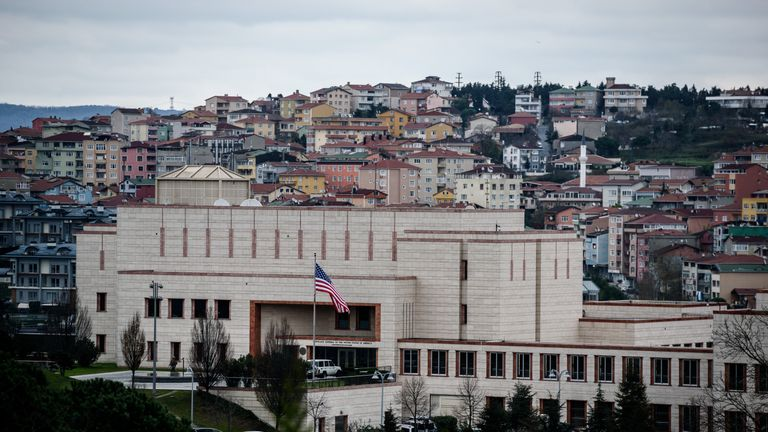 A picture shows the US consulate in Istanbul on December 9, 2015. The United States consulate in Istanbul was offering only limited services with a scaled-down staffing due to information about a possible security threat, the mission said. / AFP / OZAN KOSE (Photo credit should read OZAN KOSE/AFP/Getty Images)