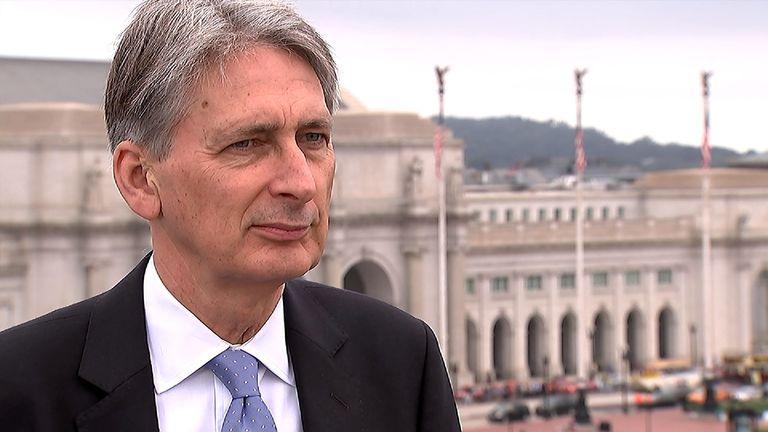 Chancellor Philip Hammond talks to Sky's Ed Conway