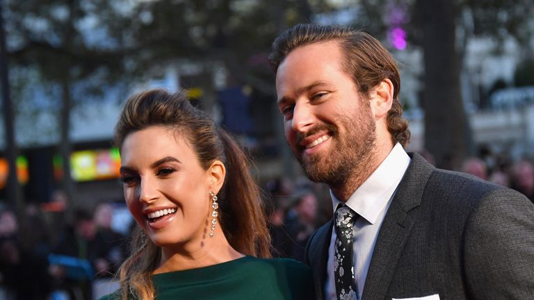 Armie Hammer and his wife Elizabeth Chambers attend the closing night gala screening of his film Free Fire at the 60th BFI London Film Festival