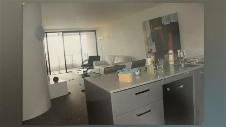 This image of Gable Tostee's flat shows the balcony from which Ms Wright fell