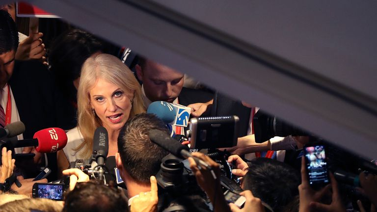 Kellyanne Conway, campaign manager for Donald Trump , talks with reporters in the spin room following the second presidential debate