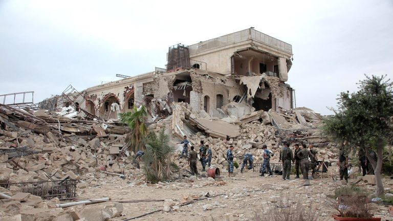 Rebels destroyed the the Carlton Hotel, being used as an army base, in May 2014