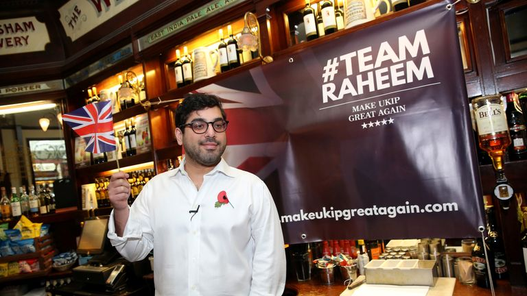 Raheem Kassam launched his short-lived leadership bid in a pub