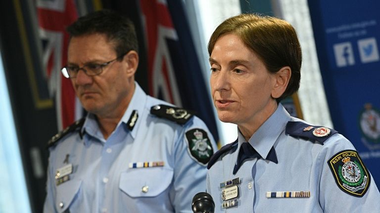 New South Wales Police Commissioner Catherine Burn addresses reporters