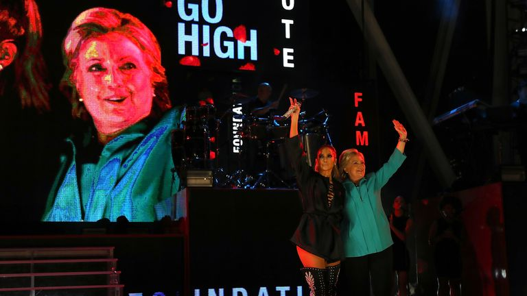 J-Lo and Hillary Clinton on stage