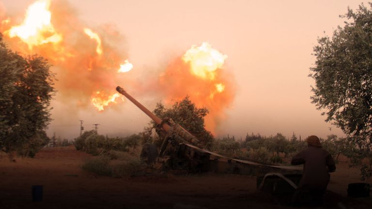 A shell is fired towards Aleppo by rebels