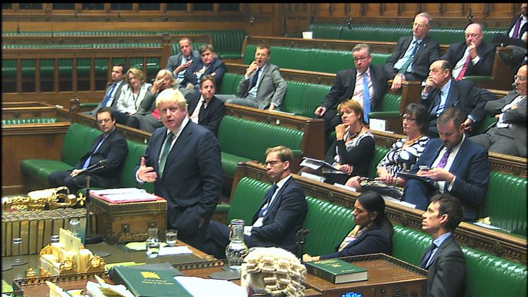 Boris Johnson addresses the House of Commons over Syria