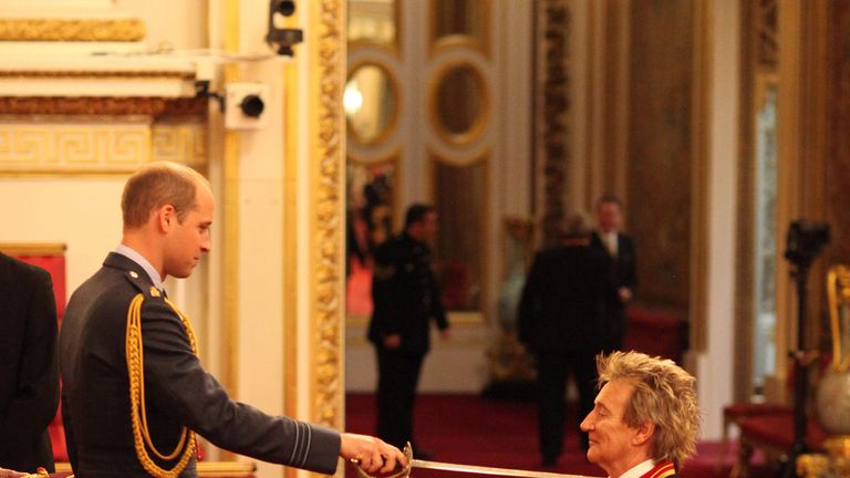 Veteran singer Sir Rod Stewart is made a Knights Batchelor by the Duke of Cambridge during an Investiture ceremony at Buckingham Palace in London