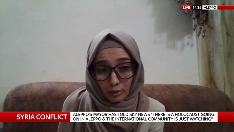 Lina Shamy, an Aleppo resident who works for a non-government organisation 'Checkmate',