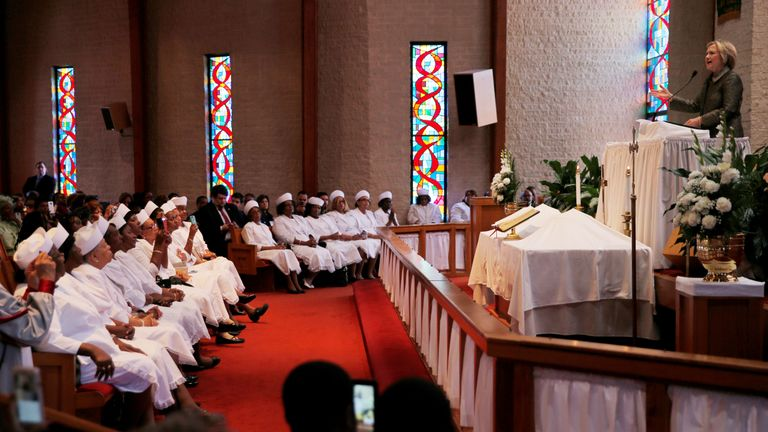 Mrs Clinton speaks during church services at the Little Rock AME Zion Church in Charlotte, North Carolina