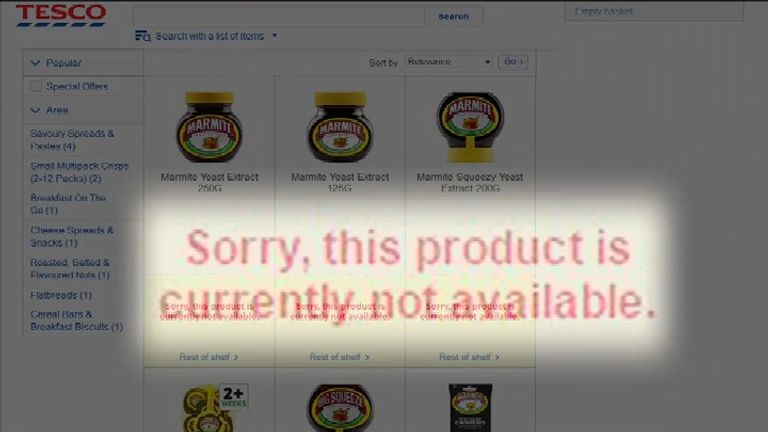 Marmite message on the Tesco website