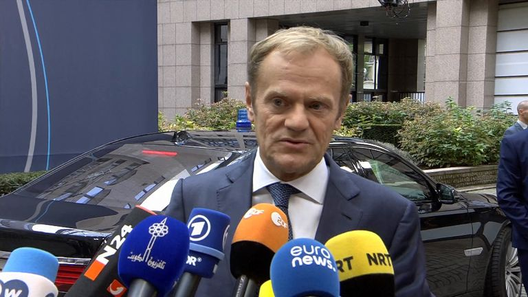Donald Tusk arrives at EU Council meeting in Brussels