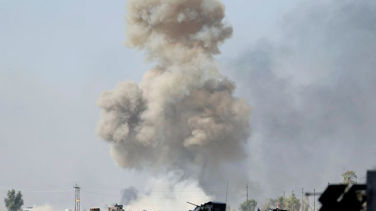 IED planted by Islamic States fighters explodes in front of Iraqi special forces vehicles in Bartella