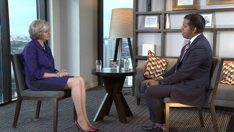 Theresa May talks to Faisal Islam about Brexit and EU at Tory Party conference