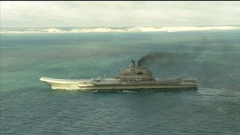 A Russian warship sails past the White Cliffs of Dover