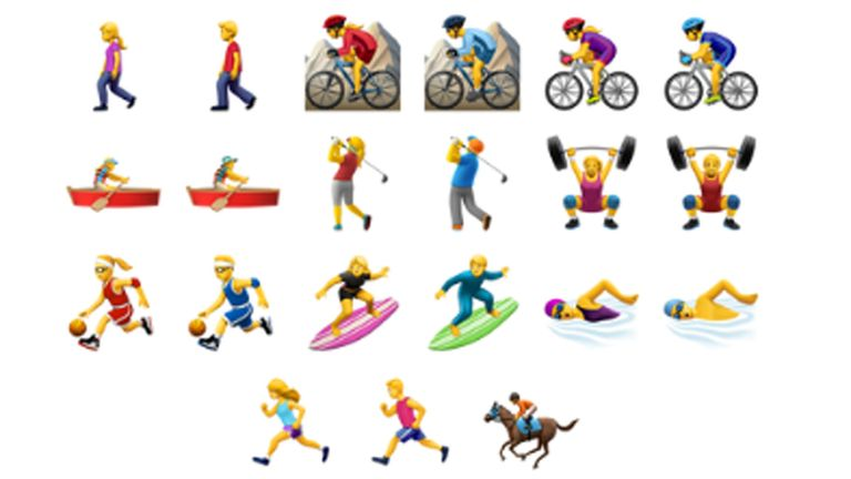 Some of the emojis that have male and female versions