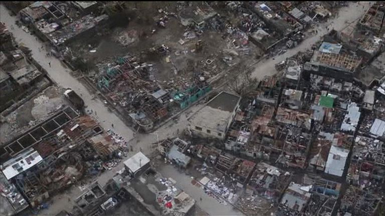 Aerials show the destruction caused by Hurricane Matthew in Haiti